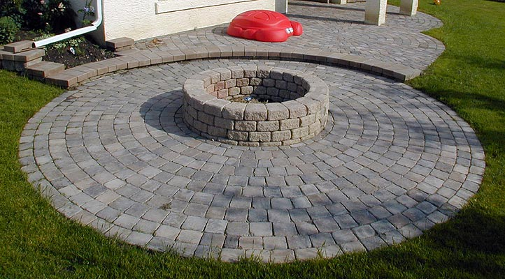 Stamped Concrete Patio with Firepit amp Seating Wall